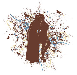 silhouette girl with splashes of color paint