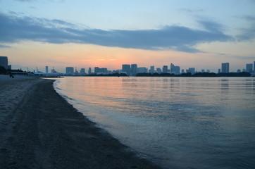 Odaiba City and the beach