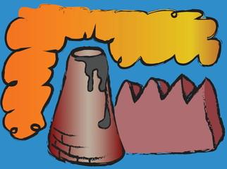 cartoon factory pipes polluting air, environmental problems