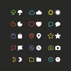 Color web interface icons clip-art. Design elements