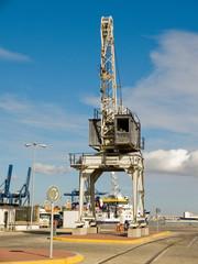 Cargo crane in a port.