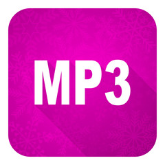 mp3 violet flat icon, christmas button