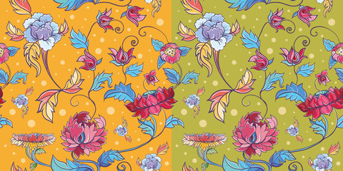 flowers vector pattern with lotuses and peonies