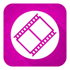 film violet flat icon, movie sign, cinema symbol