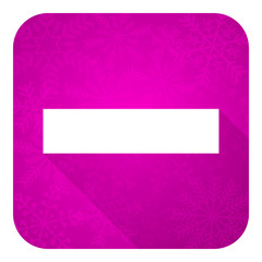 minus violet flat icon, christmas button
