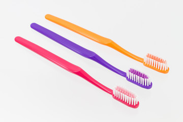 classic tooth brush set on white background