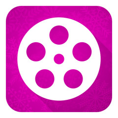 film violet flat icon, christmas button