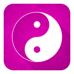 ying yang violet flat icon, christmas button