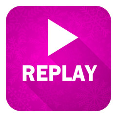 replay violet flat icon, christmas button