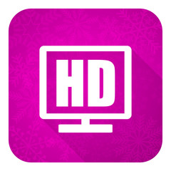hd display violet flat icon, christmas button