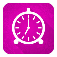alarm violet flat icon, christmas button, alarm clock sign