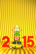 Kadomatsu On Car, New Year Ornament, 2015 On Gold Text Space