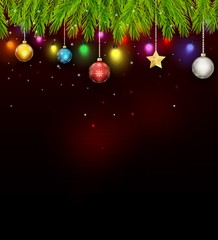 Background with Christmas tree, bells and snowflakes