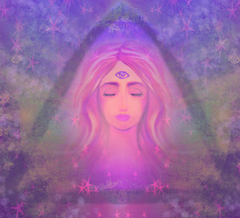 Woman with third eye, psychic supernatural senses
