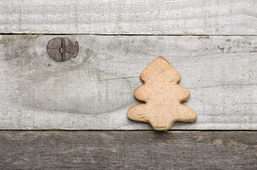 Homemade shortbread Christmas tree on grey background