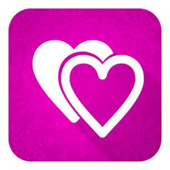 love violet flat icon,  valentine sign, hearts symbol
