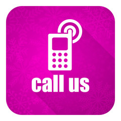 call us violet flat icon, christmas button, phone sign
