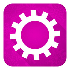 gears violet flat icon, christmas button, options sign