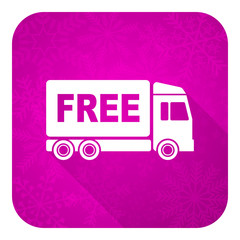 free delivery violet flat icon, christmas button, transport sign