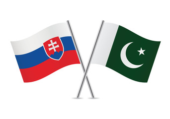 Slovakia and Pakistan flags. Vector illustration.