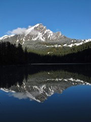 Mountain peak mirroring in lake Obersee