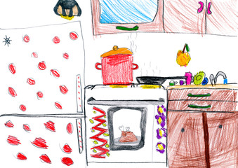 kitchen interior. children drawing.