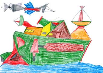 space radio communication ship. child drawing.