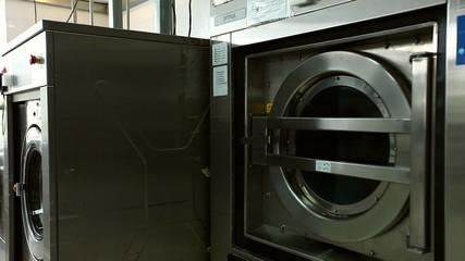 Rattling drum of washing machine, close-up