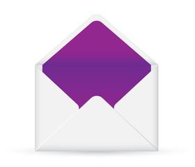 White Purple Open Blank Envelope on white background