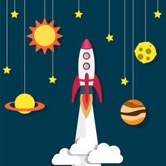 Paper rocket and planet, sun. Retro background