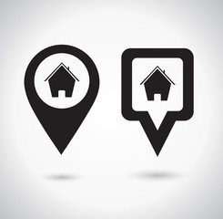 Location icon. Round and square pin pointer