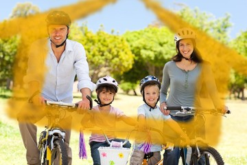 Composite image of family with their bikes