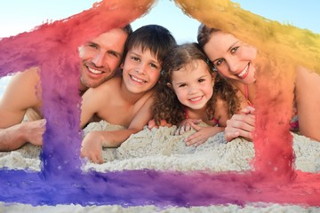 Composite image of family at the beach