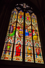 Stained glass window from within the Dom church in Cologne