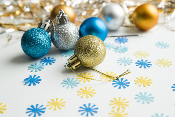Christmas balls on a white background