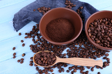 Two bowls of ground coffee and coffee beans near wooden spoon
