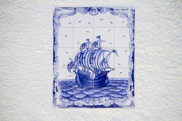 azulejo tile depicting a Portuguese caravel ship.