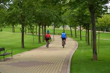 paseo en bicicleta por un parque de logroño