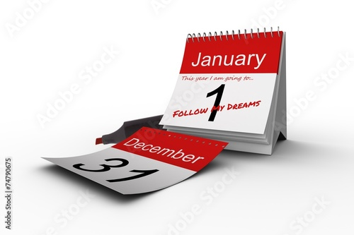 canvas print picture Composite image of new years resolutions