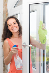 maid cleaning windows