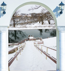 Winter snow descend stairs in the pond is not frozen