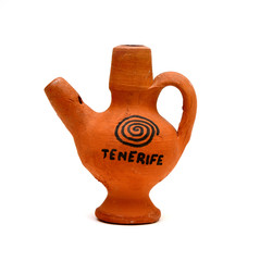 the whistle of the clay with the inscription Tenerife