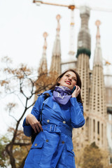 young woman calling by mobile at Barcelona