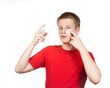 boy teenager with cream for problem youthful skin,against spots