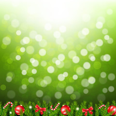 Green Bokeh With Fir Tree Border