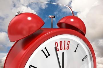 Composite image of 2015 in red alarm clock