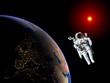 Astronaut Spaceman Earth Sun - 74792877