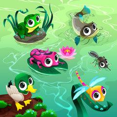 Funny animals in the pond