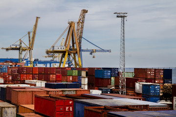 View of cargo container docks located in Lisbon, Portugal.