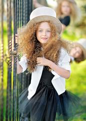 portrait of a two beautiful fashion little girl